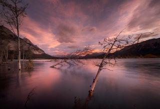 Дорассветные краски в небе над озером Абрахам (Канада)