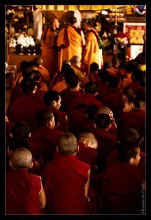 Обычно молодые монахи находятся в другом здании, где они учатся. Но в этот раз они некоторое время присутствовали на церемонии.