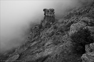 Fog on the mountain trail