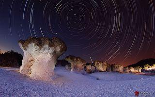 Meteor Shower Over Rocky Mushrooms