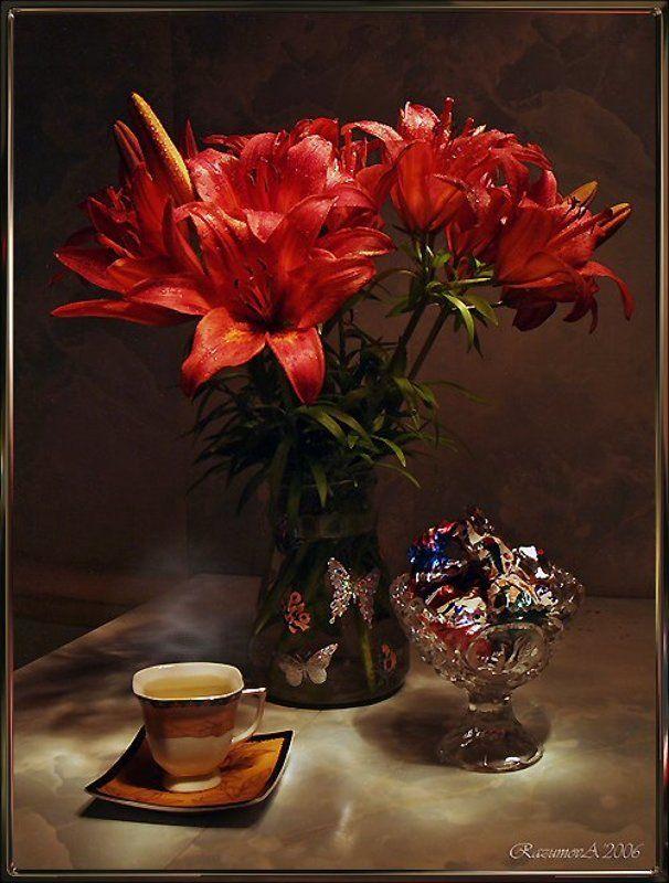 Ваза, букет, натюрморт, световая кисть, чаепитие Приглашение к чаепитиюphoto preview
