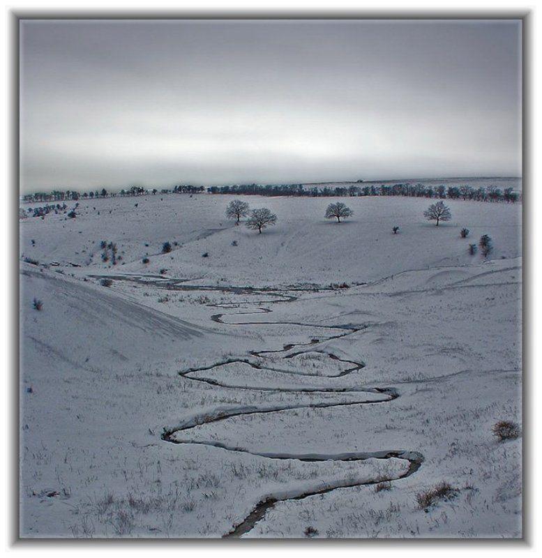 Ручей, снег, пейзаж \