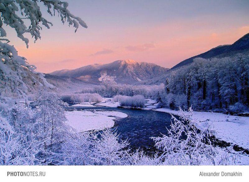 горы, зима, снег, лес, вечер, река, путешествия, пейзаж, Кубань, PHOTONOTES.RU Морозный вечерphoto preview
