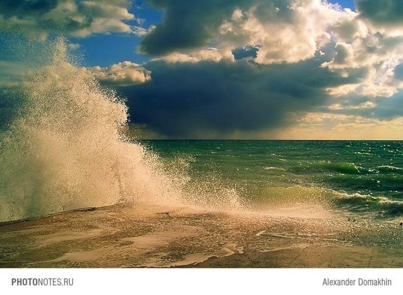 море, волна, небо, пейзаж, природа, Кубань, Черное море, PHOTONOTES.RU После штормаphoto preview