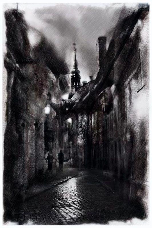 tallinn, old, city, vintage, photo,  art, estonia, dark, architecture, night Vana Tallinnphoto preview