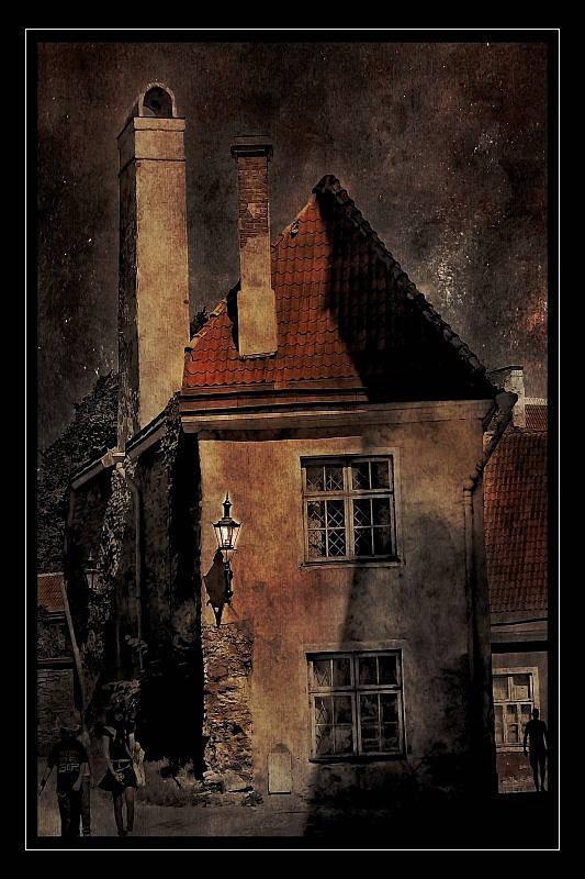 tallinn, old, city, vintage, photo,  art, estonia, dark, architecture, stars, night Дом, который построил Джек...photo preview