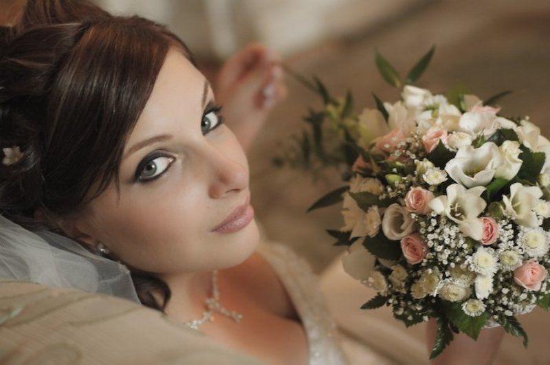 невеста, белоеб цветы, девушка, букет ...photo preview
