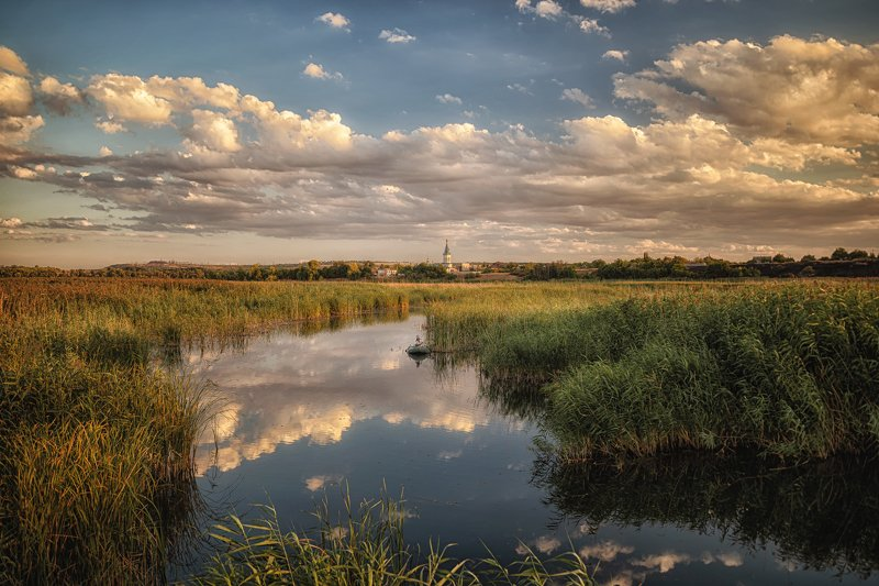 нижняя крынка, крынка, река, пейзаж, облака, тростник, донбасс Нижняя Крынкаphoto preview