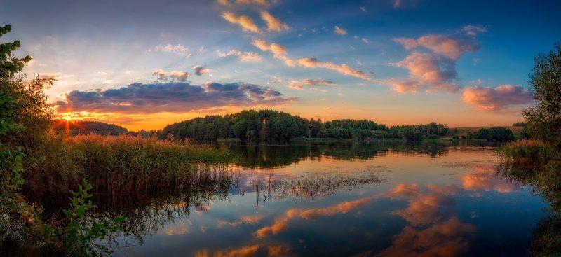 панорама, вечер, лето, закат, река, Багровый закатphoto preview