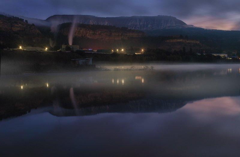 горы, вода, туман, озеро, утро, рассвет, отражение, ***photo preview