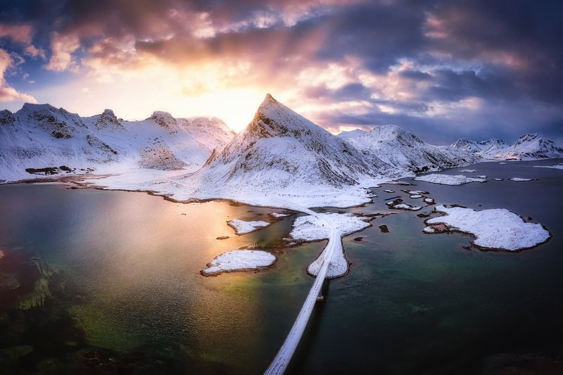 norway, sunset, drone, outdoor, landscape, fredvang, bridge, norge, north Nothern sunsetphoto preview
