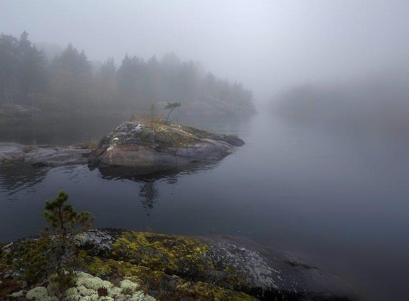 ладога, осень, шхеры, рассвет ,карелия, туман, остров Акварельное утро на Ладогеphoto preview