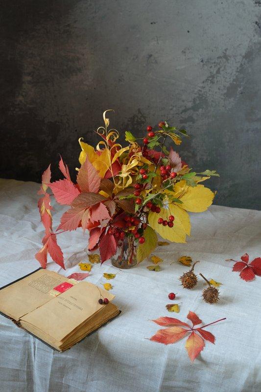 листья, осень, боярышник, каштан, книга Букет из листьевphoto preview