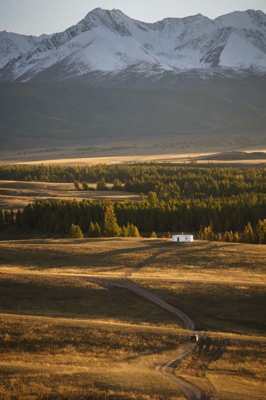 алтай, степь, пейзаж, горы Одиночество в степиphoto preview