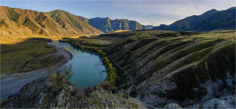 республика алтай, инегень, катунь, река, горы, утро, осень, сентябрь Утро на Катуниphoto preview