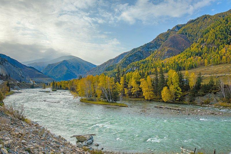 пейзаж, горы, река, осень, Горный Алтай  Красавица Катунь photo preview