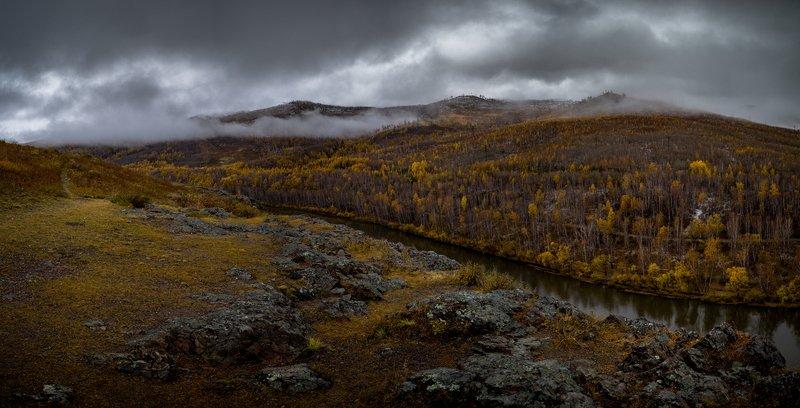 лес пейзаж осень горы облака панорама Забайкальская осеньphoto preview