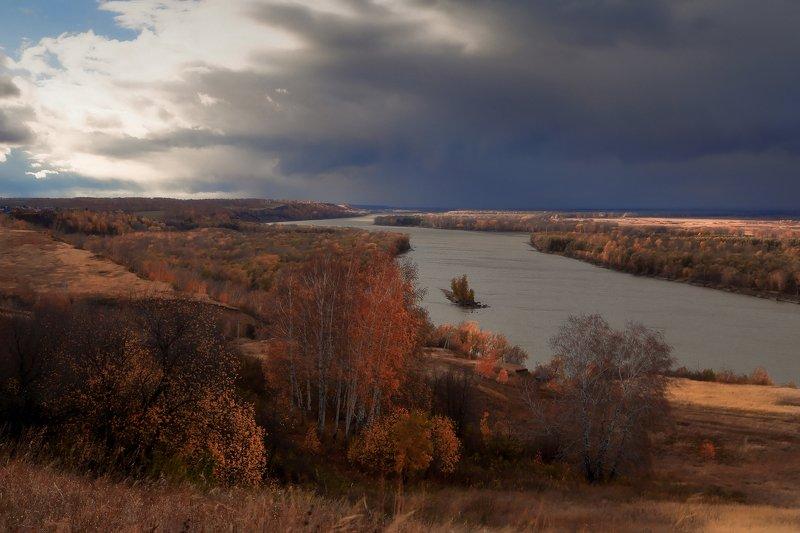 осень октябрь река облака Обь Октябрьphoto preview