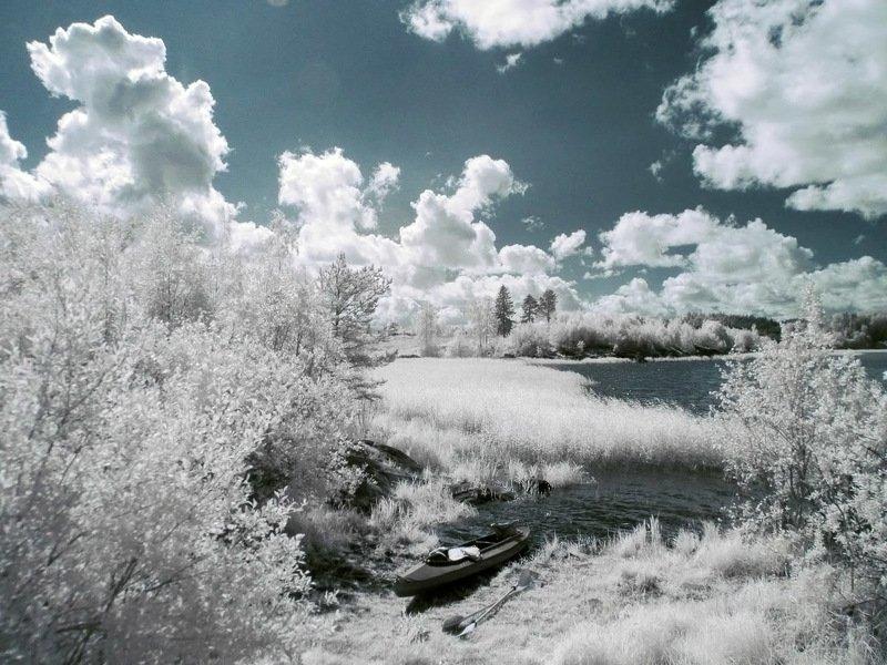 инфракрасная фотография, ir, ладога, jupthj? ,fqlfhrf? камыши, деревья, небо, природа,  красиво Байдарка отдыхаетphoto preview