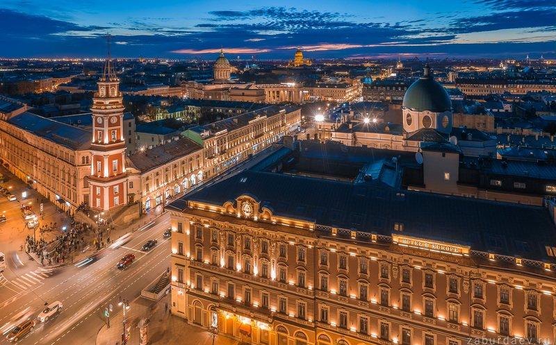 россия, петербург, вечер, закат, дрон, осень, архитектура Санкт-Петербург фото превью