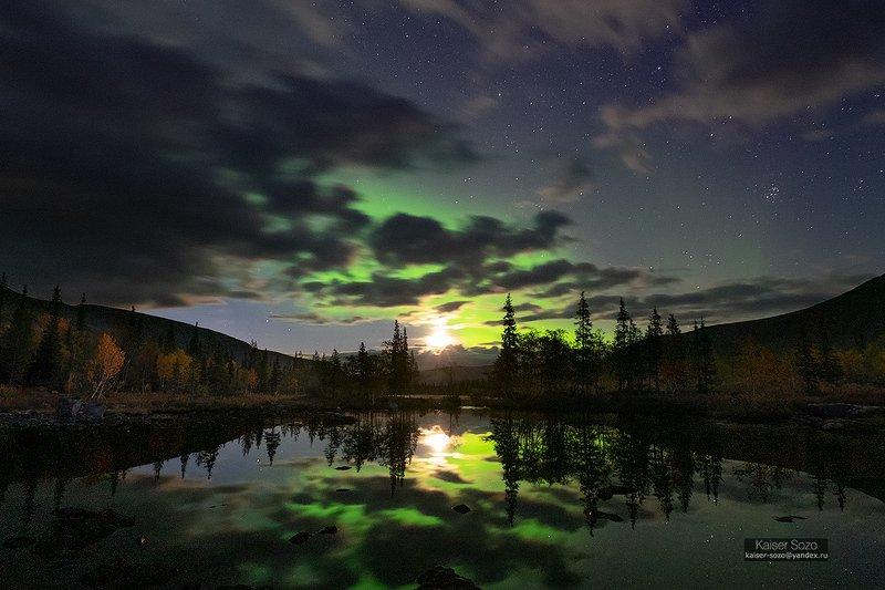 кольский, хибины, полярное сияние, Ночная охотаphoto preview