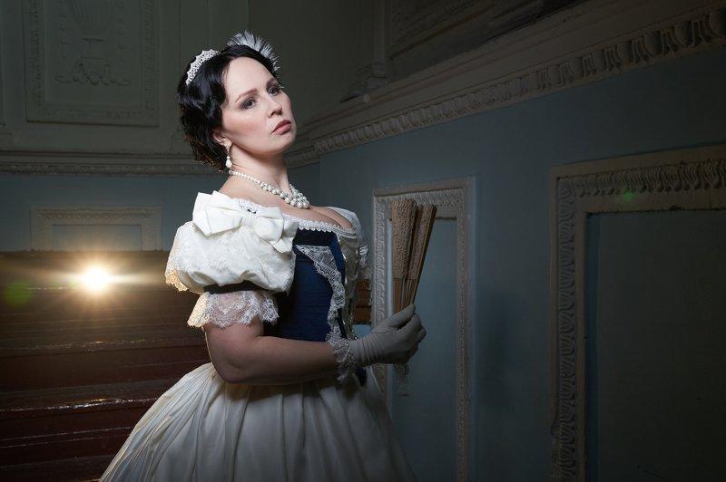 девушка, красивая, 19 век, история, историческая реконструкция, платье, образ, белый Оксанаphoto preview