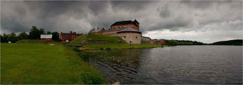финляндия, крепость, непогода, панорама, озеро, тучи Хямеэнлиннаphoto preview