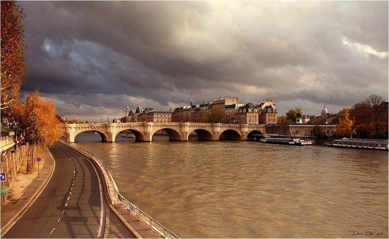 париж, франция, путешествия, сите, сена, мост, река, осень, солнце, вечер Le soleil du soir a Parisphoto preview