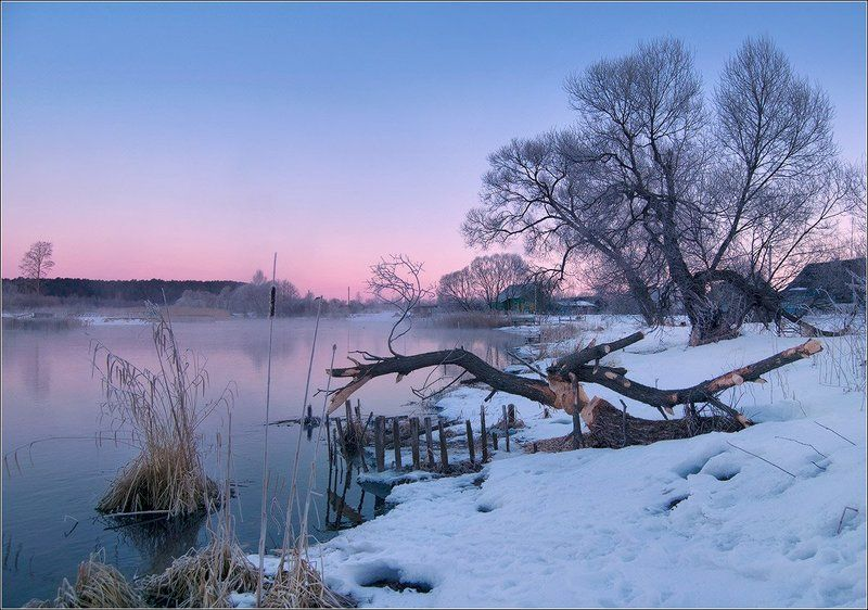 рассвет, река, утро, зима, лисно Рассветная...photo preview