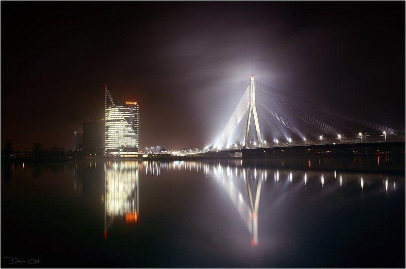 латвия, рига, мост, мистика, свет, отражение, свет, огни Мистическая Ригаphoto preview