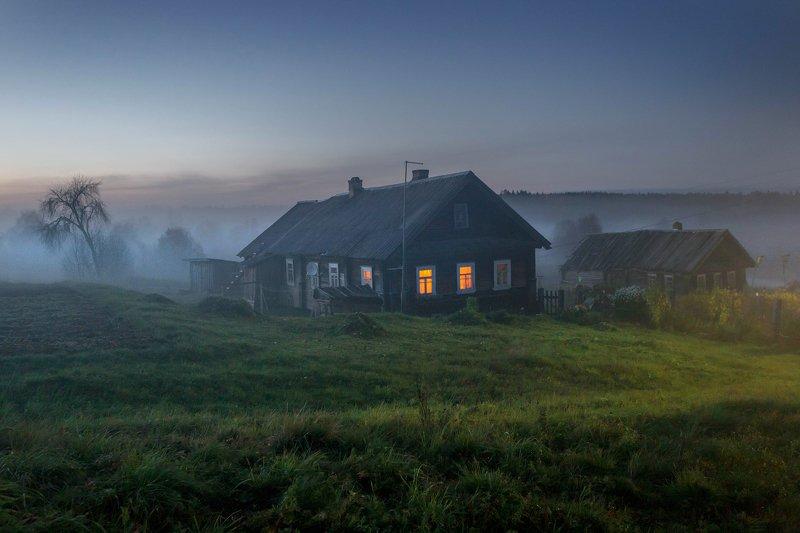 вепсский лес, деревня, сумерки, север, русская деревня, север Вечер в вепсской деревнеphoto preview