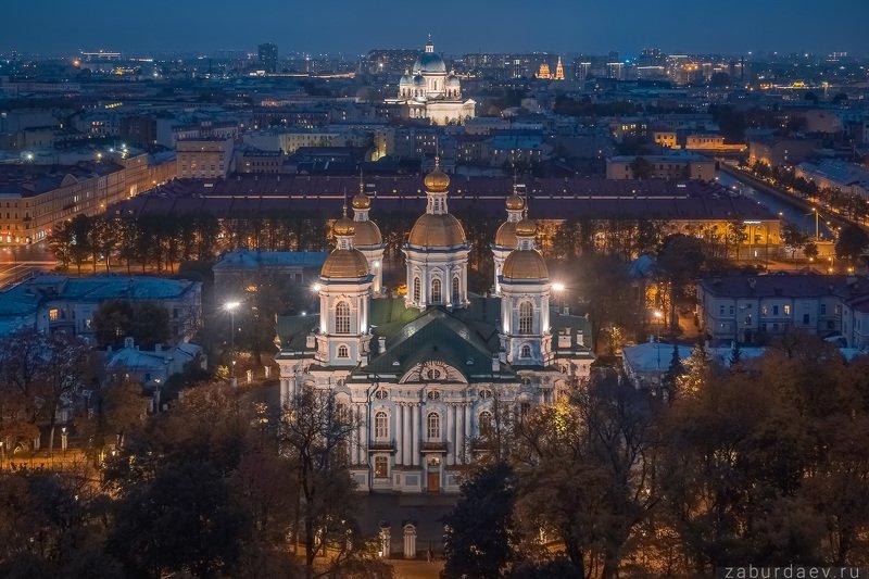 россия, петербург, осень, вечер, собор, дрон Никольский и Троицкий фото превью