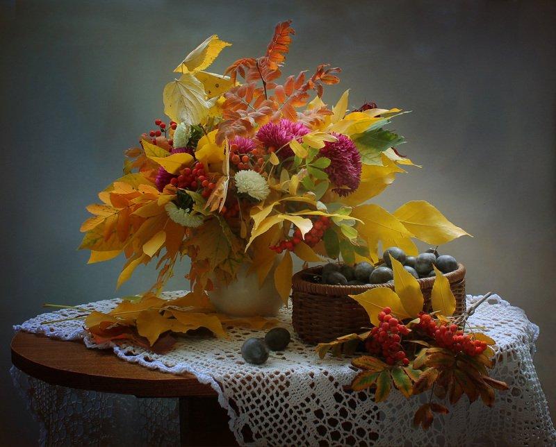 осень, листья, грибы, сливы, цветы, астры Осенние фантазииphoto preview