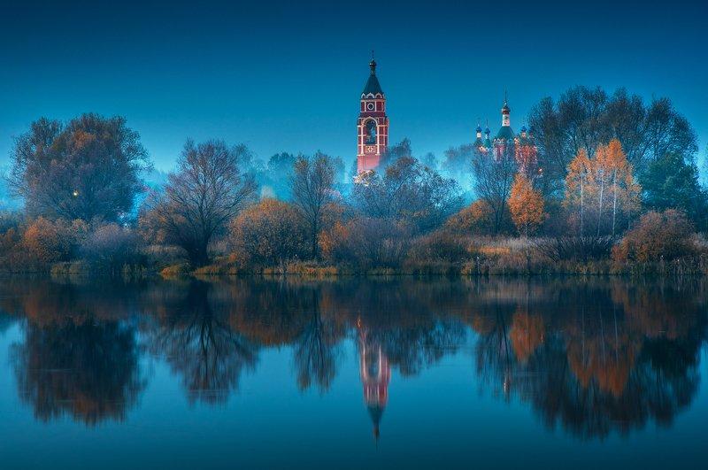 храм, туман, подмосковье, пейзаж, осень, вечер \