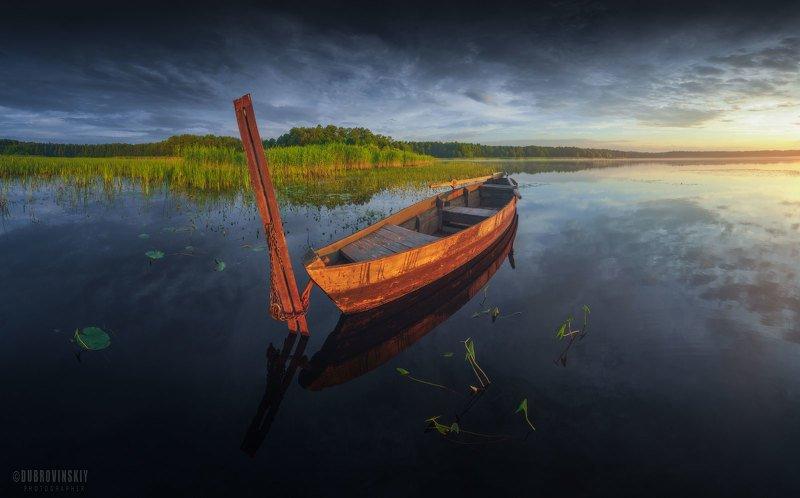 озеро, воймежное, лодка, закат Воймежноеphoto preview