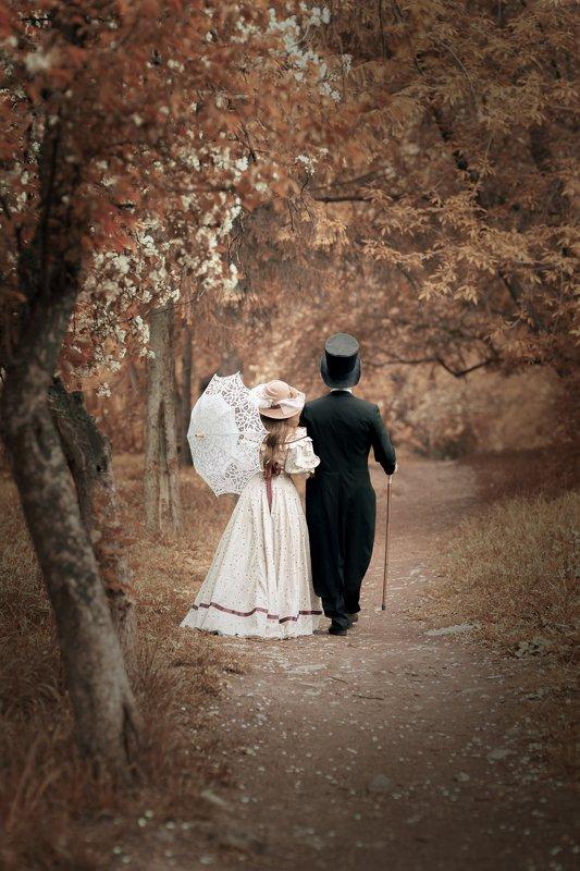 девушка, мужчина, парк, 19 век, постановка, костюм, платье, зонтик, историческая, история, чехов, любвоь  Любовь. Чеховphoto preview