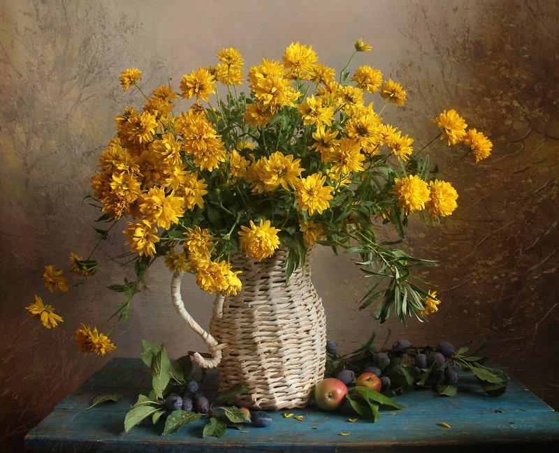 осень,  цветы, натюрморт, марина филатова Заглянула осень в садphoto preview