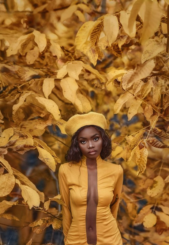 portrait, girl, autumn, yellow leaves,sexy girl,black skin photo preview