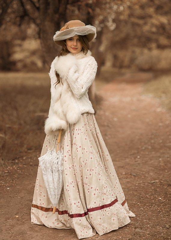 девушка, красивая, 19 век, история, историческая реконструкция, платье, образ Иришаphoto preview
