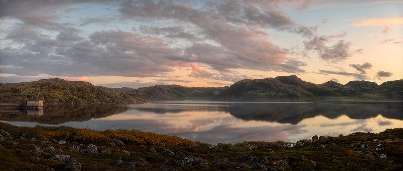 Териберка, Секретарское озеро, кольский, мурманск, баренцево море Уставший день, склонившийся к закату...photo preview