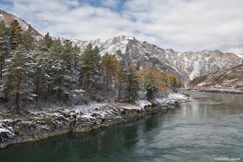 алтай, altai, осень, autumn, горы, mountains, снег, snow, река, river Первый снегphoto preview