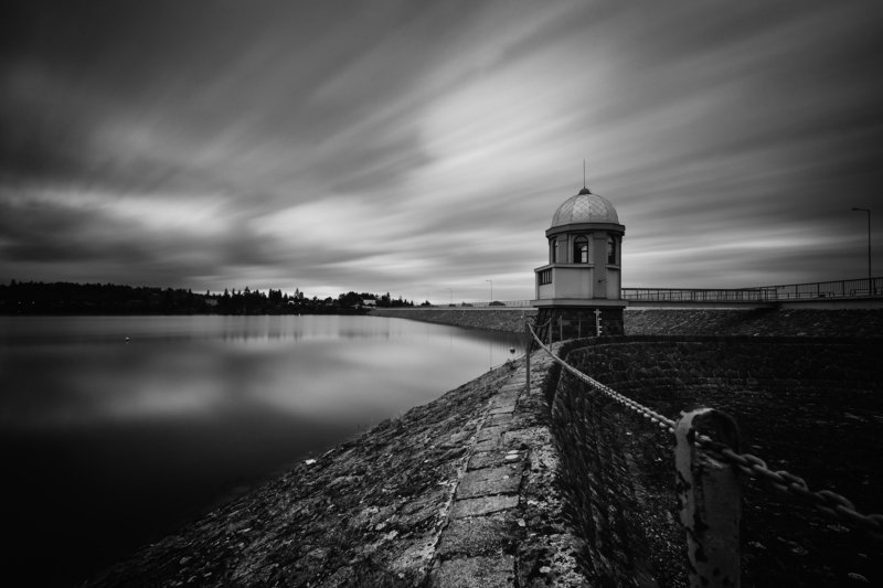 black and white, dam, lake, sky At the damphoto preview