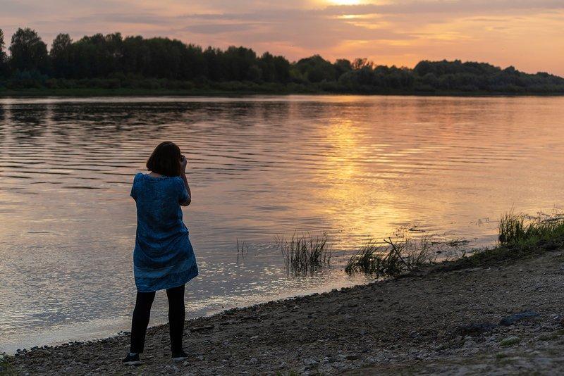 мещёра, рязанская область, вечер, закат, река, ока, золотая, волна Золотистый вечер на берегу Окиphoto preview