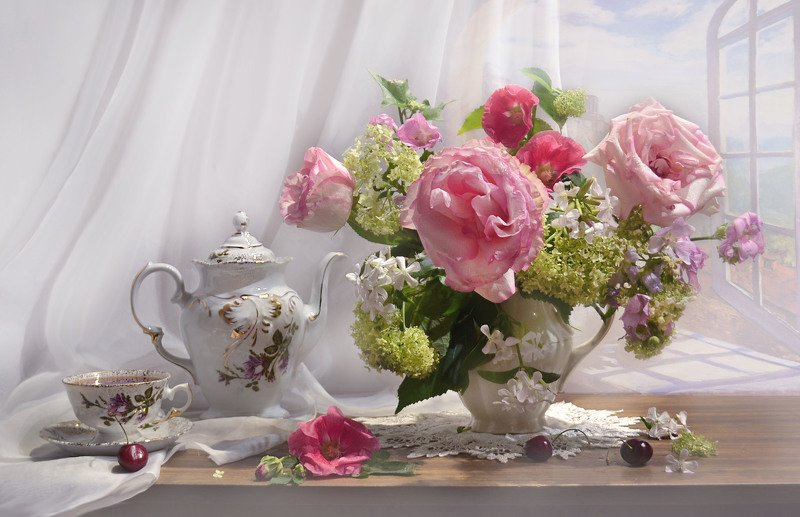 still life, натюрморт, цветы, фото натюрморт,осень, сентябрь, розы, гортензия, мальва, фарфор, чашка, чай, вишня ...розовый букет на память лета...photo preview