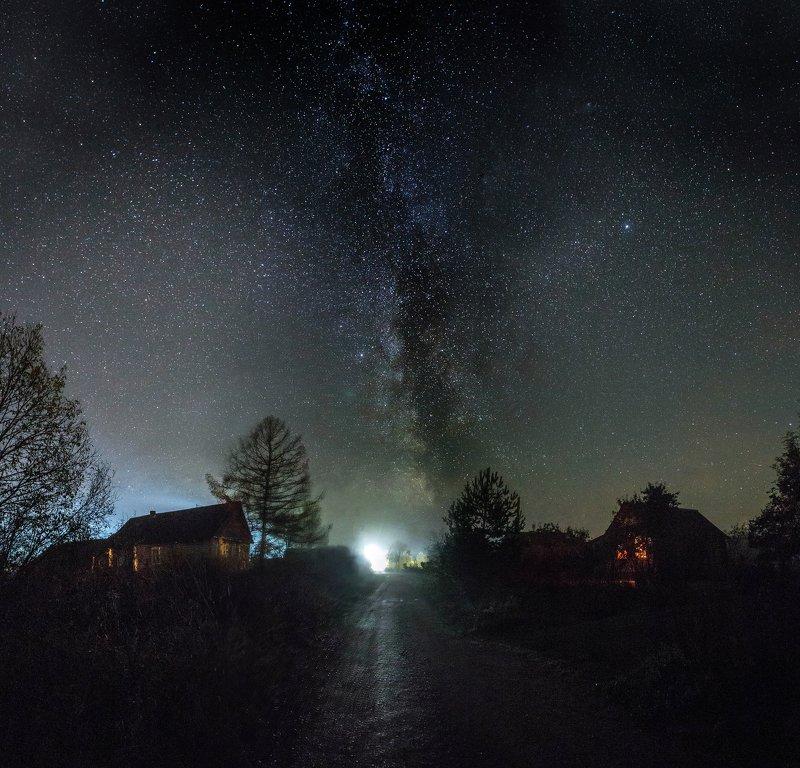 звезды, ночь, млечный путь, деревня, косомос Звездная ночьphoto preview