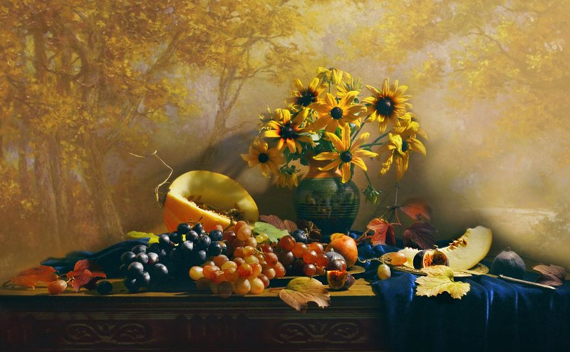 still life, натюрморт, фото натюрморт, осень, октябрь,цветы, дыня, виноград Октябрь, как рыжий клоун, то плачет, то смеётся...photo preview