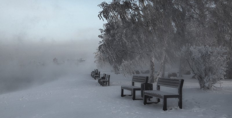 Иркутск Ангара зима мороз фото Андрея Таничева  Берега в куржакеphoto preview