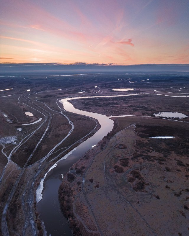 новосибирск, чаус, рассвет, река, дронфото Рассветная жар-птицаphoto preview