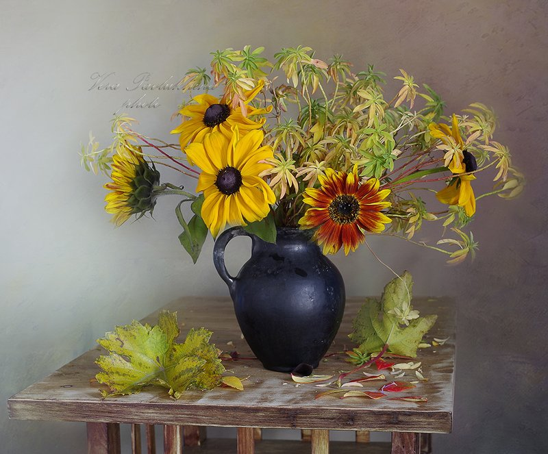 натюрморт,цветы,осень,вера павлухина, Осенний букетикphoto preview