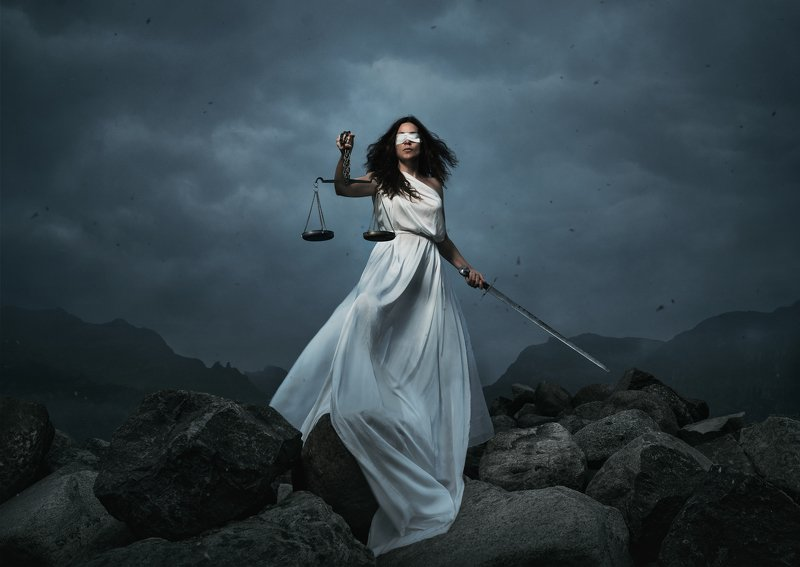 justice,temida,woman,strong,strenght,tough,rigts,law,mountain,rocks,scale,sword,fight,conceptual,concept,female,wind, Justicephoto preview